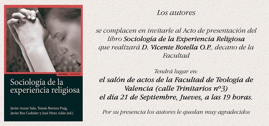 Presentación del libro Sociología de la Experiencia Religiosa