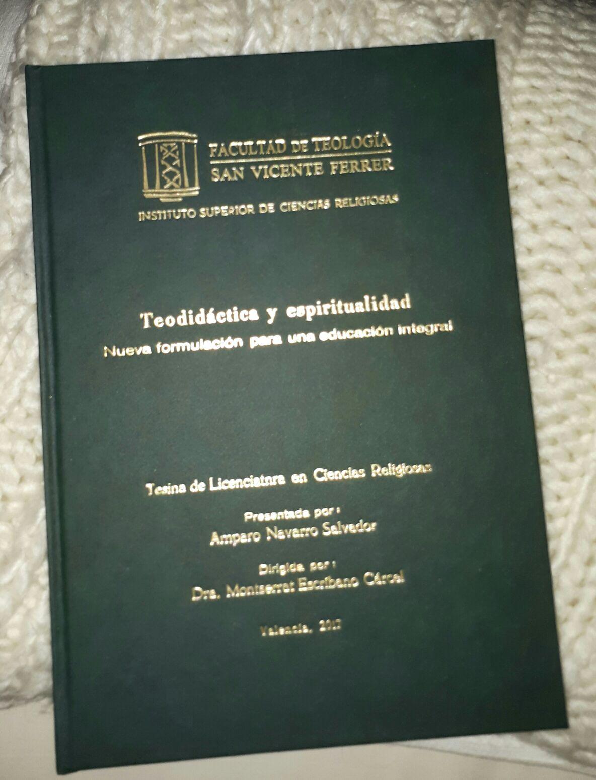 Tesina final de Amparo Navarro en la Licenciatura de Ciencias Religiosas